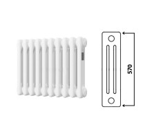Радиатор трубчатый, Arbonia, 3057, секций-12, длина, мм-540, высота, мм-570, глубина, мм-105, тип подключения-№12, боковое слева, 3/4