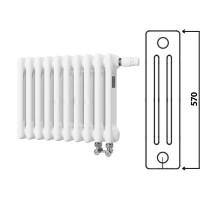 Радиатор трубчатый, Arbonia, 3057, секций-10, длина, мм-450, высота, мм-570, глубина, мм-105, тип подключения-№69 твв, нижнее слева, верхний встроенный термовентиль, 1/2
