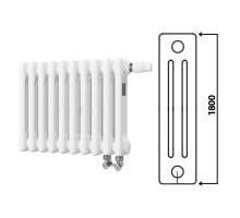 Стальной 3-х трубчатый радиатор Arbonia 3180, 4 секции, высота: 1800 мм, длина: 180 мм, цвет: RAL 9016 (белый), подключение № 69, размер подключения: 1/2