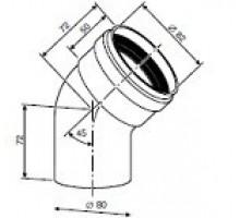 Угловое колено DN80 45°