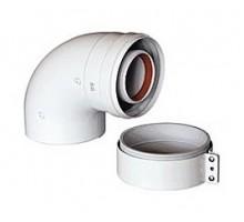 Коаксиальный отвод 90°, диам. 60/100 мм, без муфты