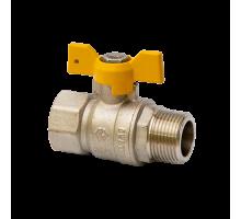 """Кран шаровый газовый полнопроходной MVI с ручкой-бабочкой и подключением гайка-штуцер (БГШ) 1/2"""""""