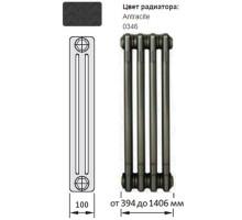 Радиатор трубчатый Zehnder Charleston, модель 3057/14, 3 колонки, высота 570 мм, 14 секций, длина 644 мм, боковое подключение, диаметр подключения 1/2