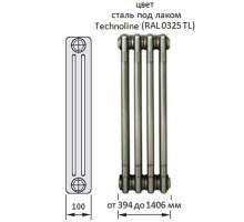 Радиатор трубчатый Zehnder Charleston, модель 3057/16, 3 колонки, высота 570 мм, 16 секций, длина 736 мм, боковое подключение, диаметр подключения 3/4