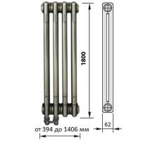 Радиатор трубчатый Zehnder Charleston Completto, модель 2180, 2 колонки, высота 1800 мм, 8 секций, длина 368 мм, нижнее подключение слева, термостатический вентиль вверху, диаметр подключения 1/2