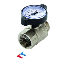 Кран шаровой с термометром TECE 1 Вн/Нар, с маркирующими вставками, 77381008