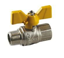 Кран шаровой для газа TIM 1 Вн/Нар, бабочка, прямой, усиленный, никель, DE124H
