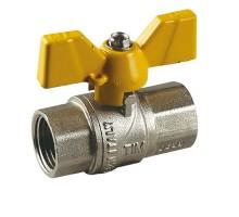 Кран шаровой для газа TIM 1 Вн, бабочка, прямой, усиленный, никель, DE114H