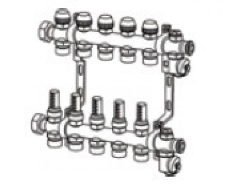 TECEfloor Коллектор для поверхностного отопления 1 х 16 push-fit, 7 контуров
