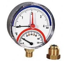 Термоманометр TMRA под. НИЖ. d 80 (0-120 °С) 0-10 бар 1/2, WATTS
