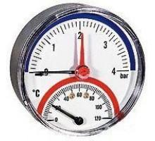 Термоманометр TMAX под. ТЫЛОВ. d 80 (0-120 °С) 0-10 бар 1/2, WATTS