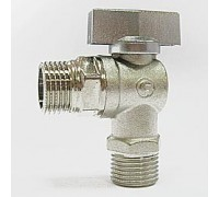 Кран шаровый угловой для сантехнических приборов 1/2х 3/4 никель, FORNARA