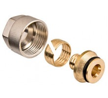Соединитель обжиной для металлопластиковой трубы Ø20х3/4 евроконус (никель), OVENTROP