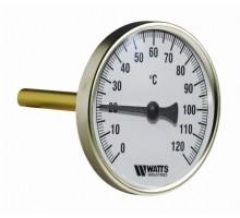 Термометр биметаллический WATTS F+R801(T) с погружной гильзой D 63 мм, штуцер 50 мм (0-120 °С) 1/2