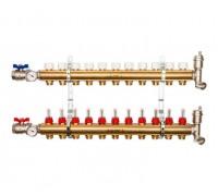Коллекторы STOUT SMB0473000011 на 11 отводов, латунь, с расходомерами