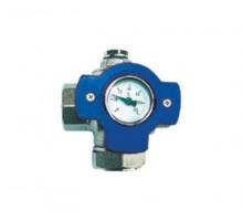 HERZ Мультифункциональный шаровой кран с синим маховиком и термометром 120°С 3/4