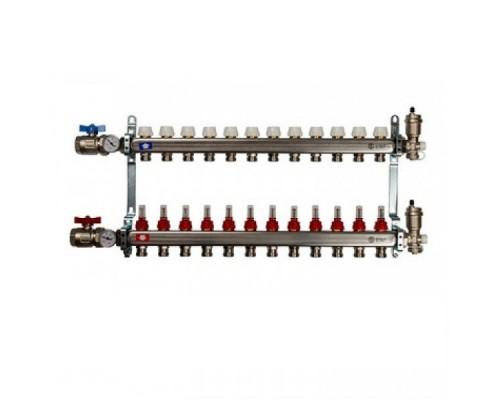 Коллекторная группа STOUT на 12 отводов из нержавеющей стали в сборе с расходомерами SMS 0907 000012