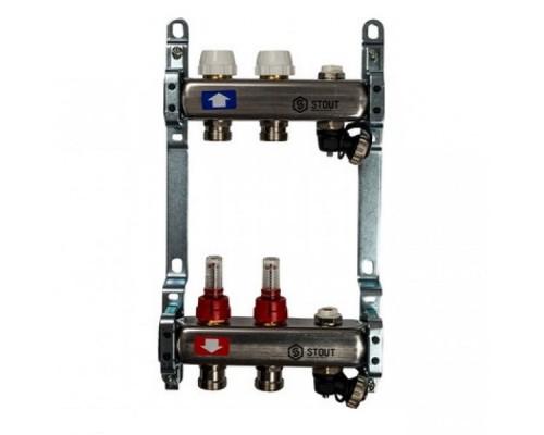 Коллекторная группа STOUT на 2 отвода с расходомерами, с клапаном вып. воздуха и сливом
