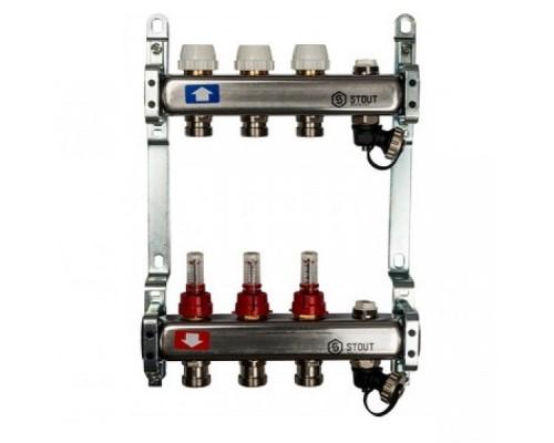 Коллекторная группа STOUT на 3 отвода с расходомерами, с клапаном вып. воздуха и сливом