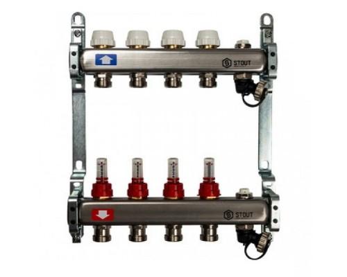 Коллекторная группа STOUT на 4 отвода с расходомерами, с клапаном вып. воздуха и сливом
