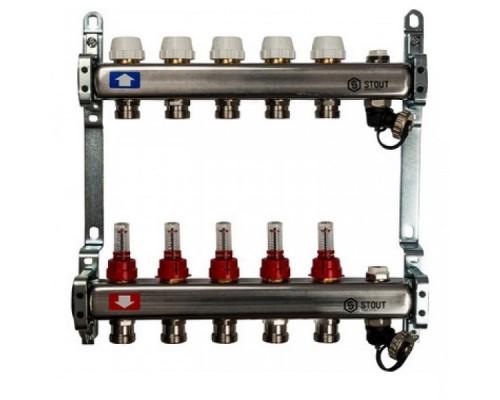 Коллекторная группа STOUT на 5 отводов с расходомерами, с клапаном вып. воздуха и сливом