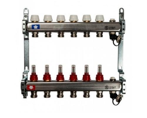 Коллекторная группа STOUT на 6 отводов с расходомерами, с клапаном вып. воздуха и сливом