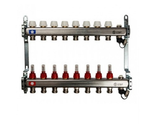 Коллекторная группа STOUT на 8 отводов с расходомерами, с клапаном вып. воздуха и сливом