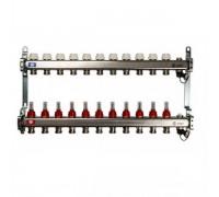 Коллекторная группа STOUT на 11 отводов с расходомерами, с клапаном вып. воздуха и сливом