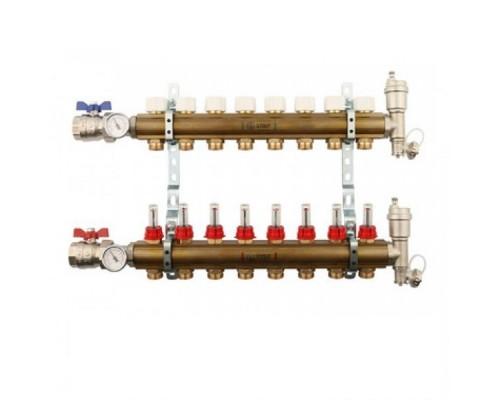 Коллекторы STOUT SMB0473000008 на 8 отводов, латунь, с расходомерами