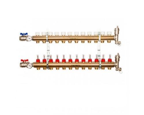 Коллекторы STOUT SMB0473000012 на 12 отводов, латунь, с расходомерами