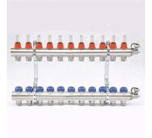 Коллекторная группа с термостатическими вентилями и расходомерами UNI-FITT 1x3/4 ЕК 11 отводов