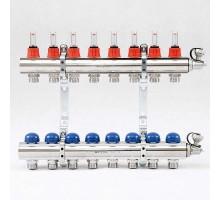 Коллекторная группа с термостатическими вентилями и расходомерами UNI-FITT 1x3/4 ЕК 8 отводов
