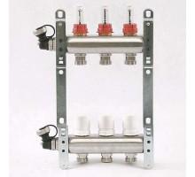 Коллекторная группа из нержавеющей стали Uni-Fitt с вентилями и расходомерами 1x3/4 ЕК 3 отвода