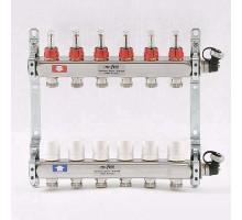 Коллекторная группа из нержавеющей стали Uni-Fitt с вентилями и расходомерами 1x3/4 ЕК 6 отводов