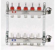 Коллекторная группа из нержавеющей стали Uni-Fitt с вентилями и расходомерами 1x3/4 ЕК 5 отводов