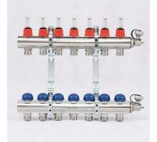 Коллекторная группа с термостатическими вентилями и расходомерами UNI-FITT 1x3/4 ЕК 7 отводов
