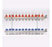 Коллекторная группа с термостатическими вентилями и расходомерами UNI-FITT 1x3/4 ЕК 12 отводов