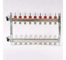 Коллекторная группа из нержавеющей стали Uni-Fitt с вентилями и расходомерами 1x3/4 ЕК 9 отводов