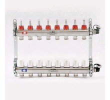 Коллекторная группа из нержавеющей стали Uni-Fitt с вентилями и расходомерами 1x3/4 ЕК 8 отводов