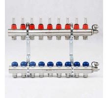 Коллекторная группа с термостатическими вентилями и расходомерами UNI-FITT 1x3/4 ЕК 9 отводов