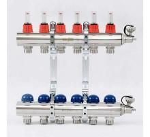 Коллекторная группа с термостатическими вентилями и расходомерами UNI-FITT 1x3/4 ЕК 6 отводов