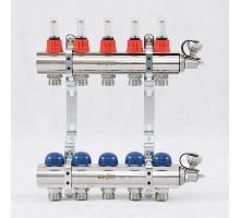 Коллекторная группа с термостатическими вентилями и расходомерами UNI-FITT 1x3/4 ЕК 5 отводов