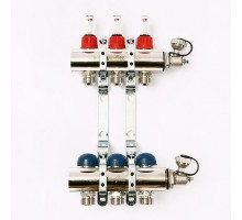 Коллекторная группа с термостатическими вентилями и расходомерами UNI-FITT 1x3/4 ЕК 3 отвода