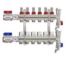 Коллекторная группа TIM KA006, 6 отводов с расходомером (ПОЛНЫЙ комплект)